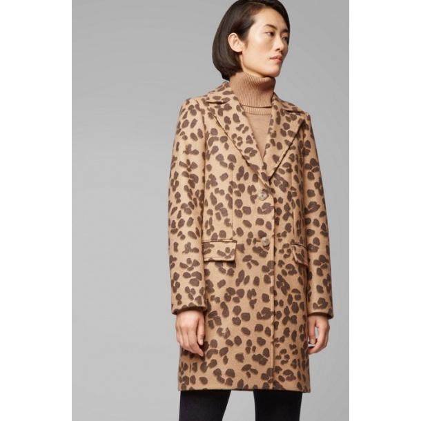 Boss Ofall -Leopard-print coat in wool blend